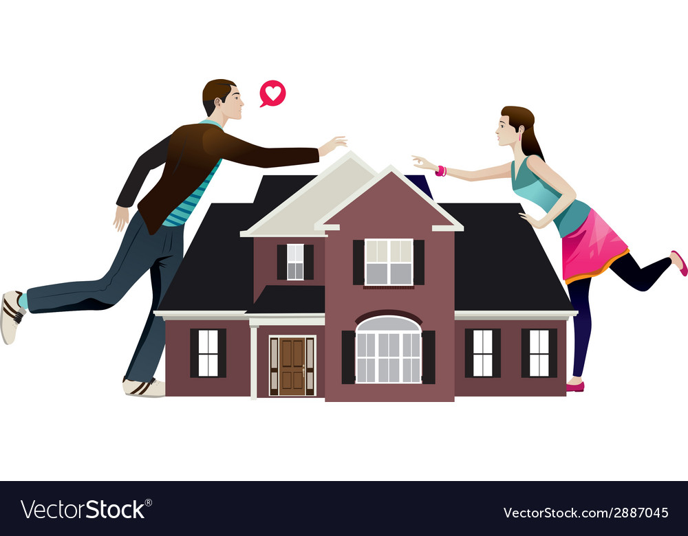 Separation of a couple with house in the middle vector | Price: 1 Credit (USD $1)