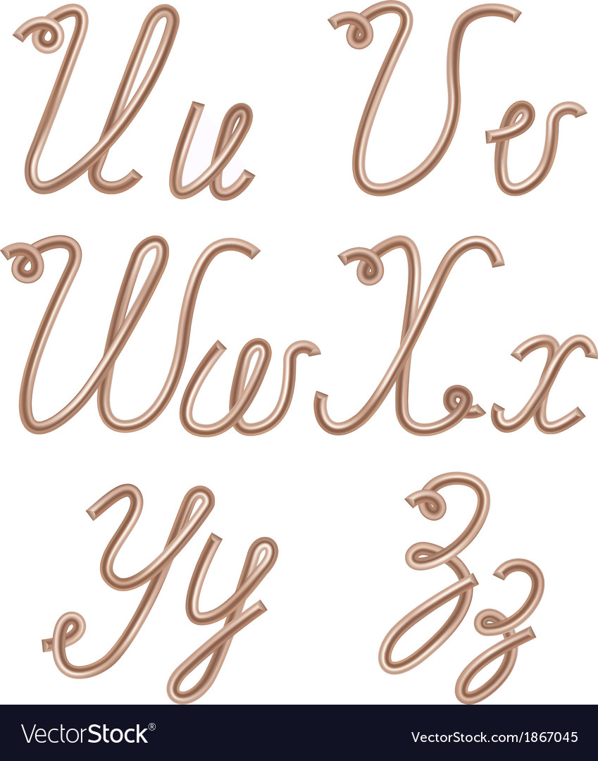 U v w x y z letters made of metal copper wire vector | Price: 1 Credit (USD $1)