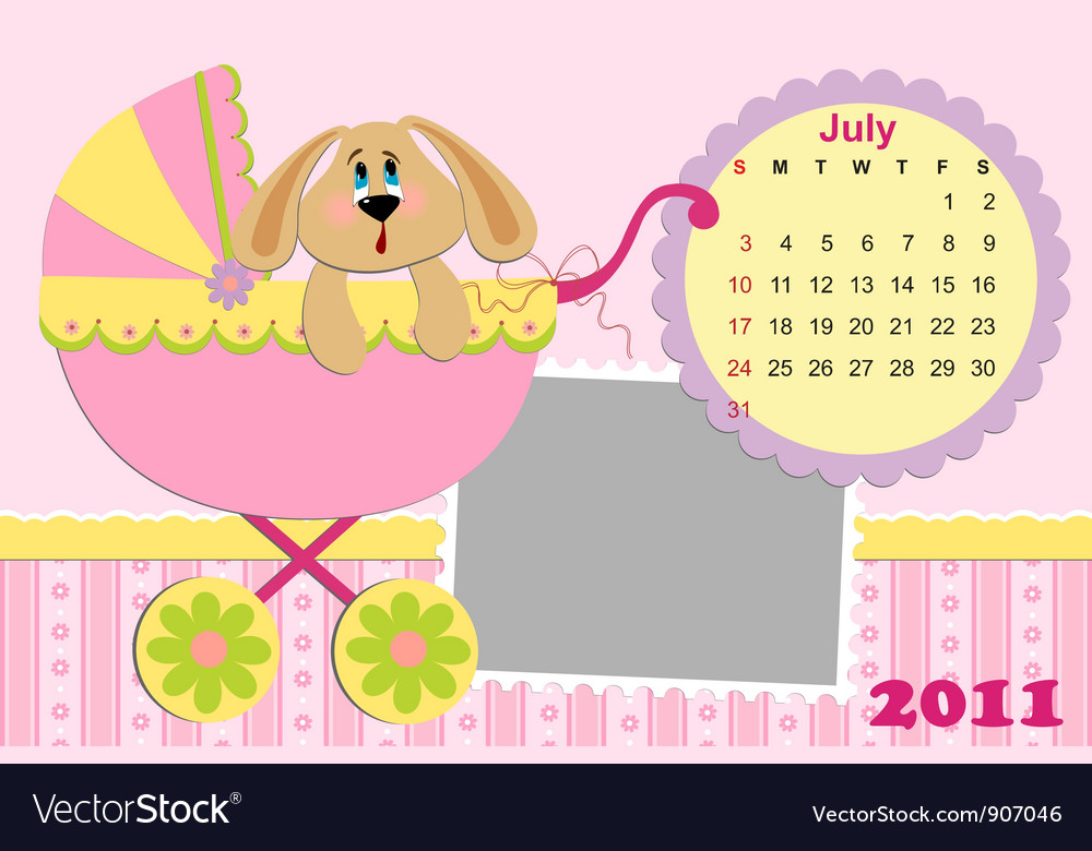 Babys monthly calendar for july 2011s vector | Price: 1 Credit (USD $1)