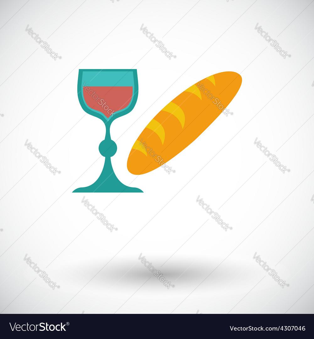 Bread and wine single icon vector | Price: 1 Credit (USD $1)