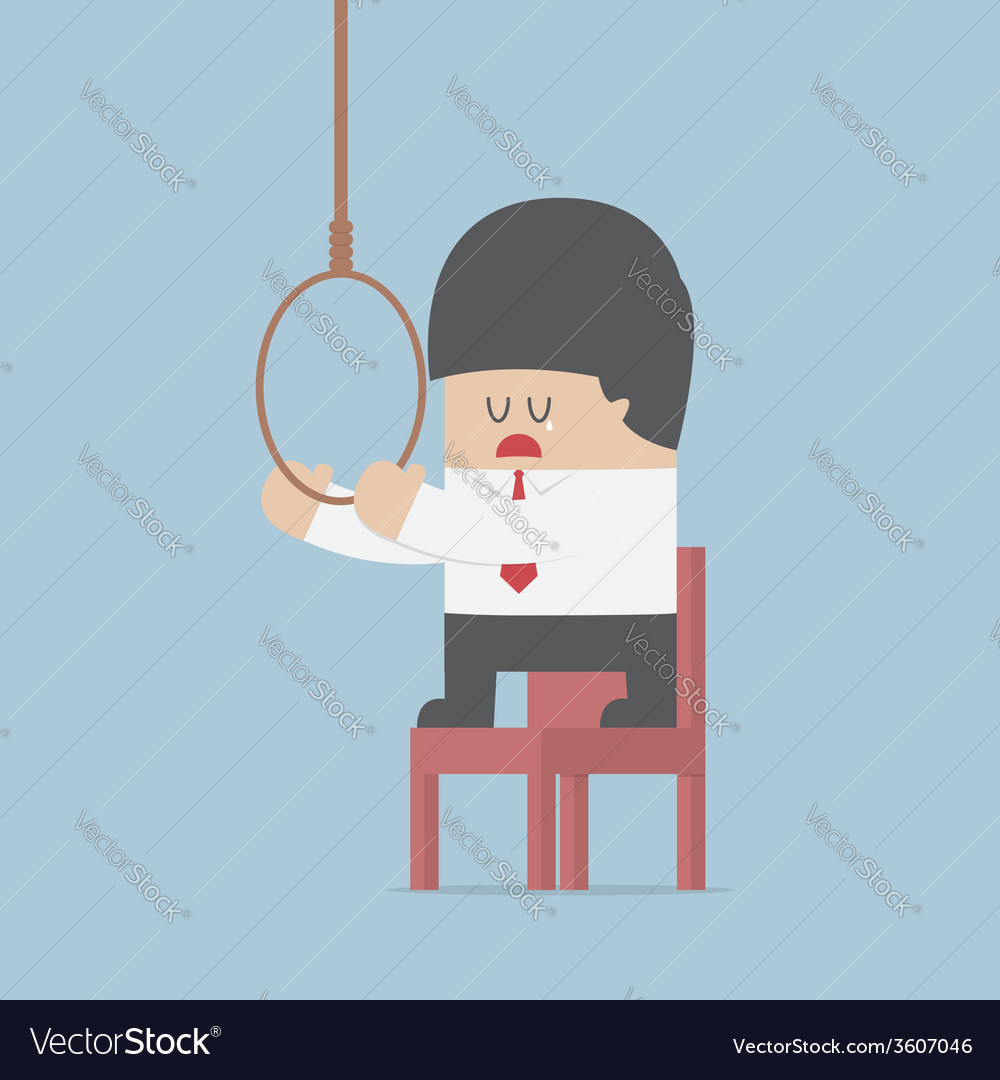 Businessman thinking to suicide with hanging rope vector | Price: 1 Credit (USD $1)