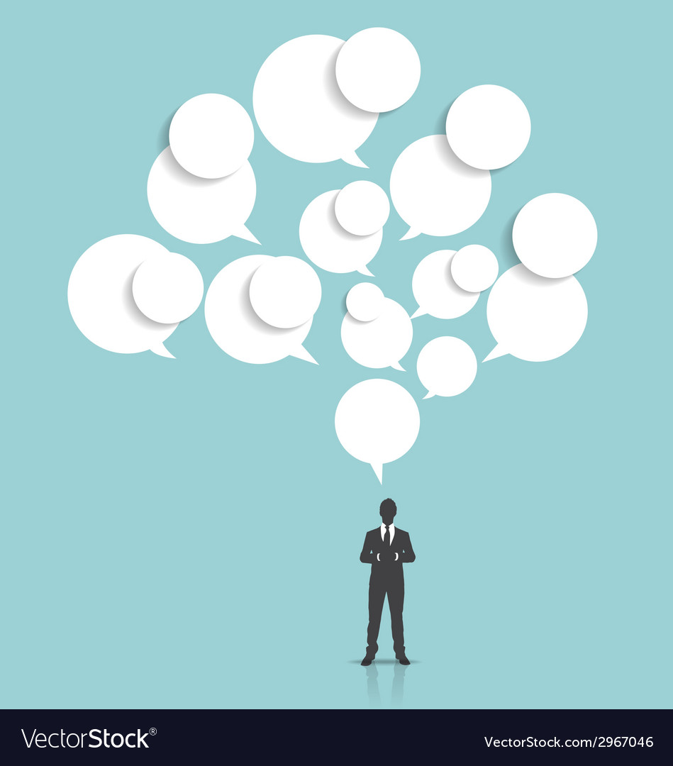 Businessman with cloud of bubble speech vector | Price: 1 Credit (USD $1)