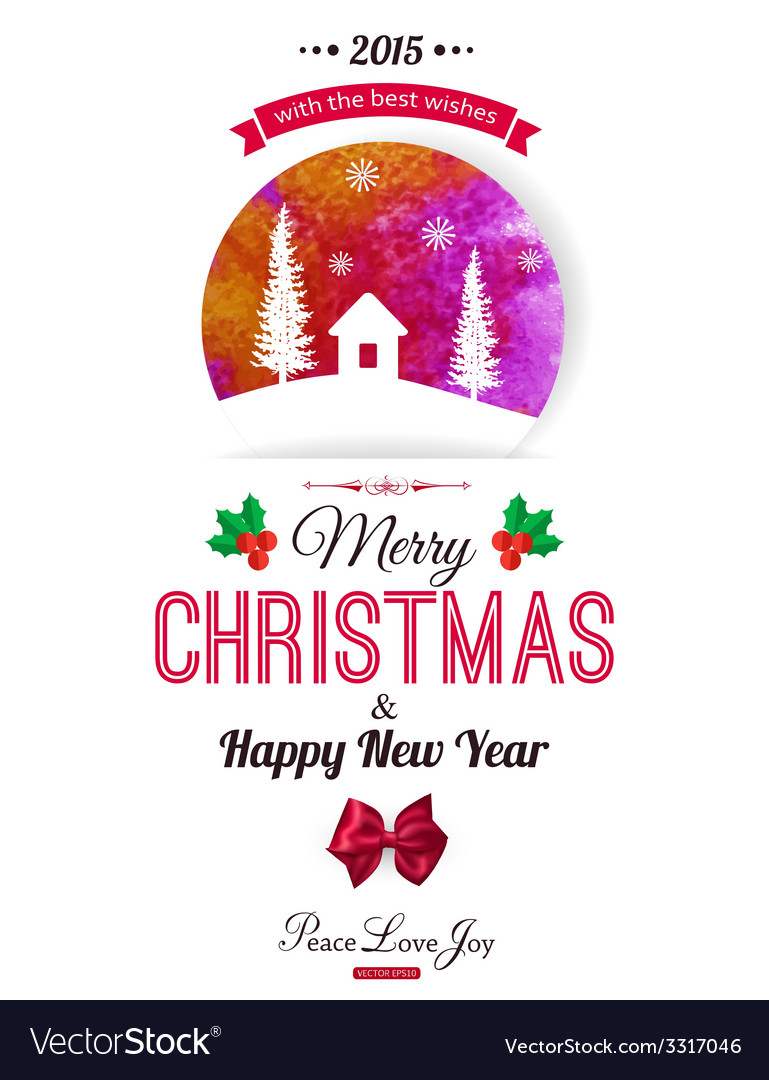 Christmas typographical background watercolor vector | Price: 1 Credit (USD $1)