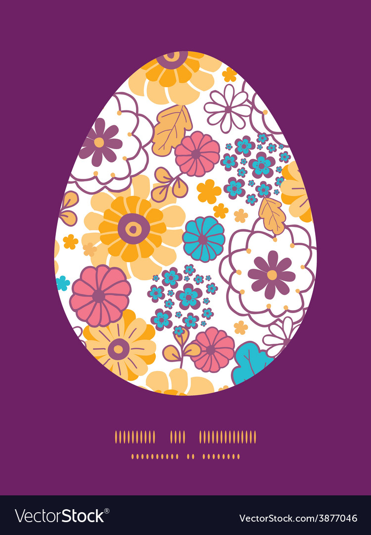 Colorful oriental flowers easter egg vector | Price: 1 Credit (USD $1)