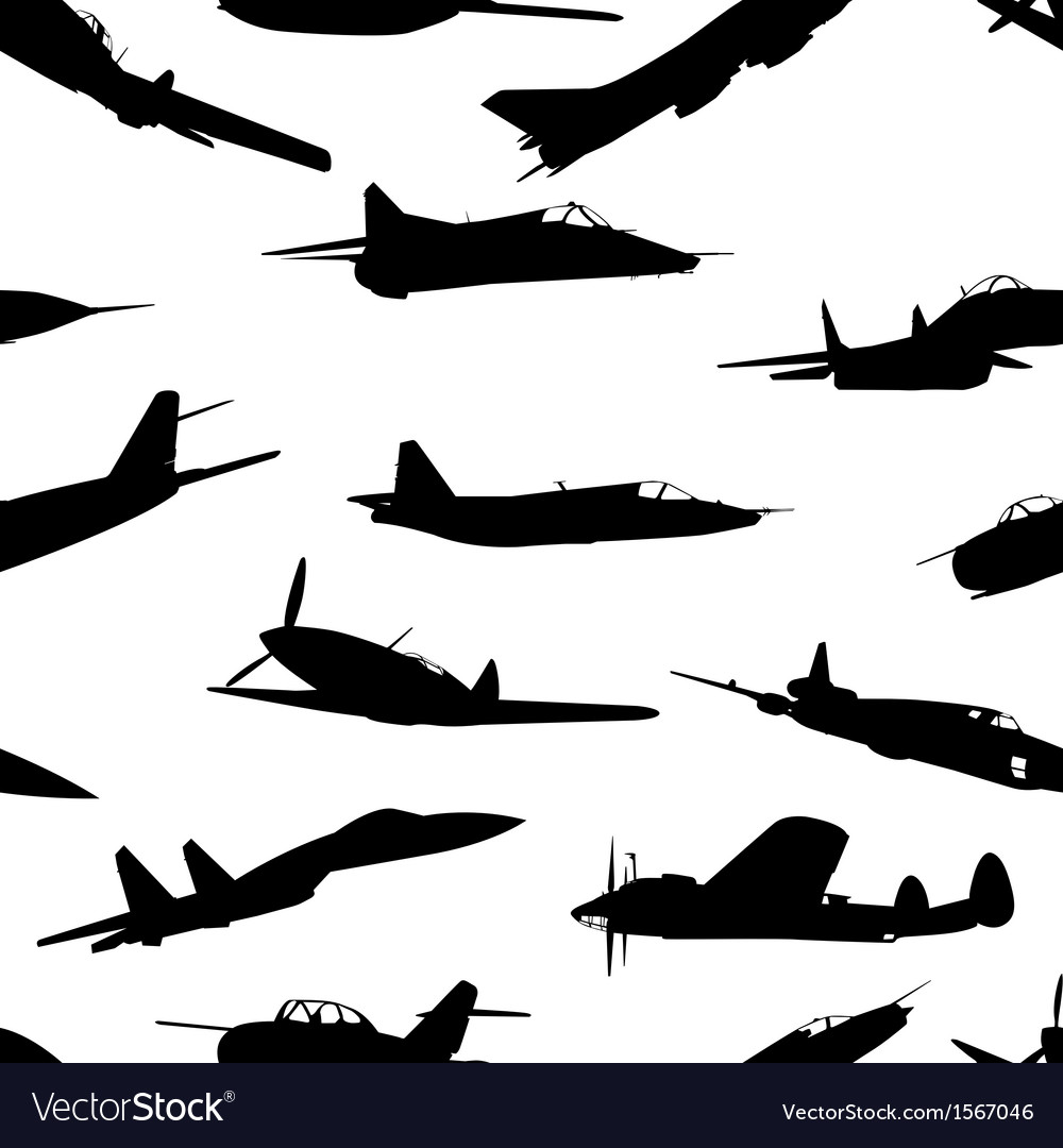 Combat aircraft silhouettes seamless wallpaper vector | Price: 1 Credit (USD $1)