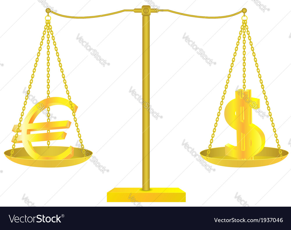 Golden scales with euro and dollar signs vector | Price: 1 Credit (USD $1)