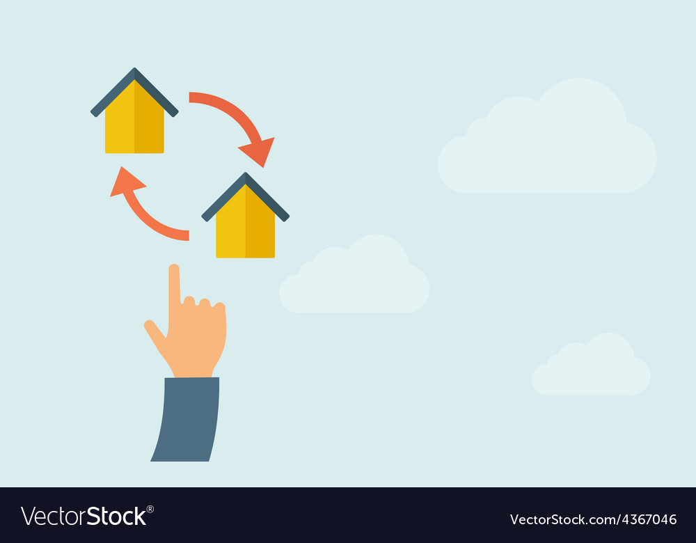 Hand pointing to little houses with arrow vector | Price: 1 Credit (USD $1)