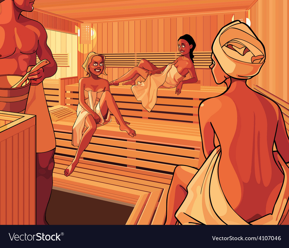 Interior of the steam room in the sauna vector | Price: 3 Credit (USD $3)