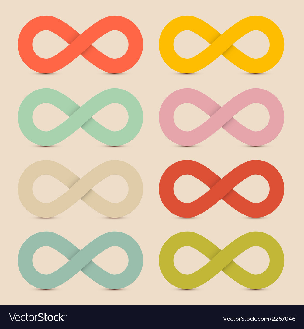 Paper colorful infinity symbols set on recycled vector | Price: 1 Credit (USD $1)