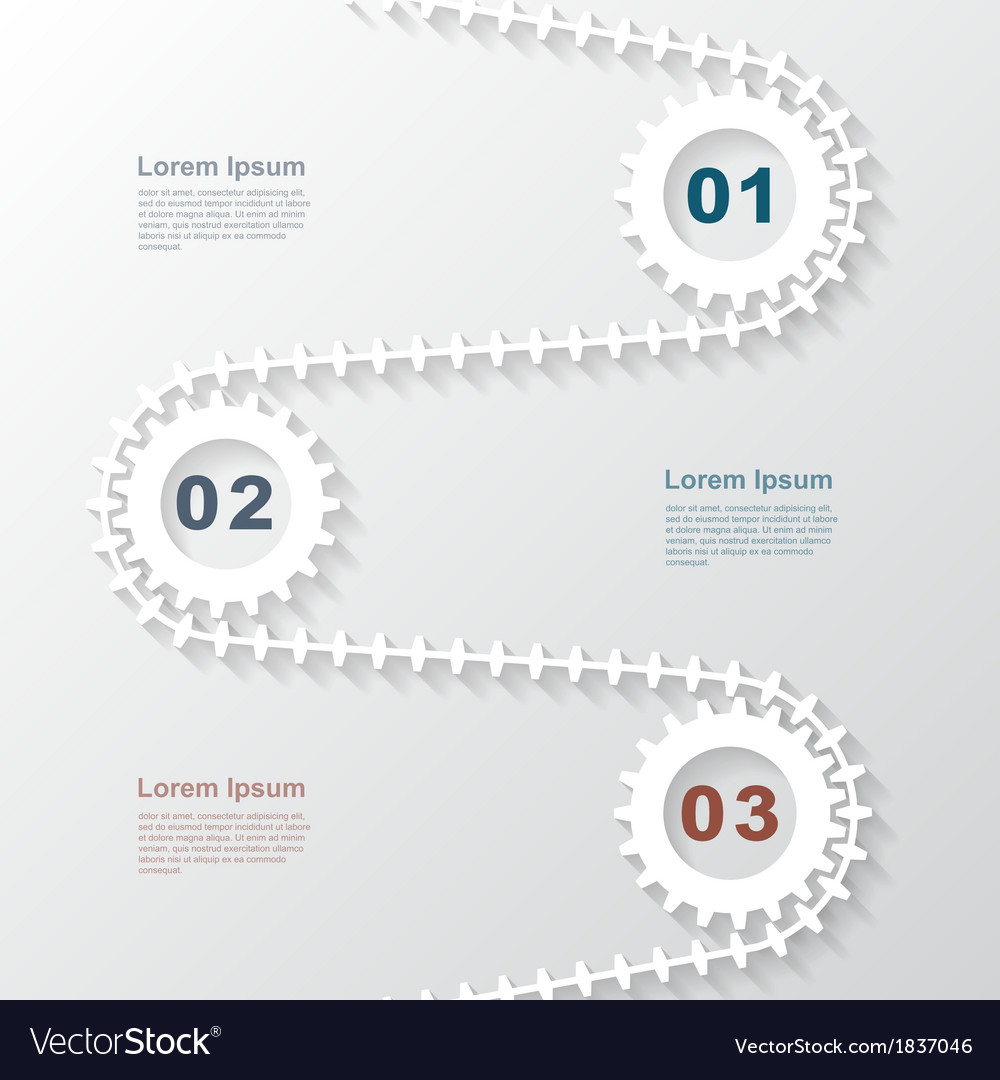 Paper gears infographic 3 vector | Price: 1 Credit (USD $1)
