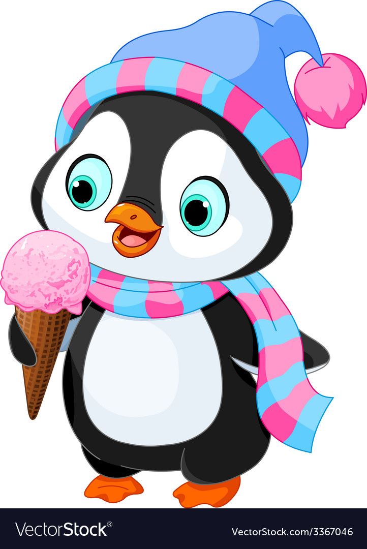 Penguin eats an ice cream vector | Price: 3 Credit (USD $3)