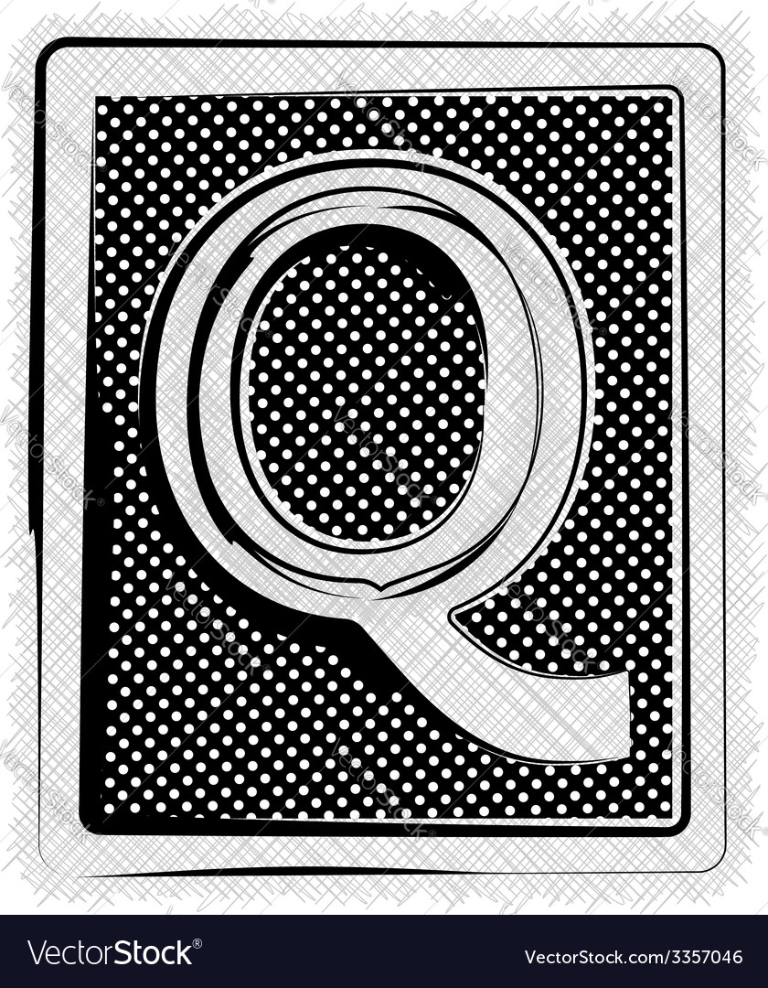 Polka dot font letter q vector | Price: 1 Credit (USD $1)