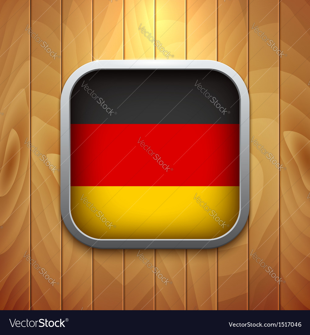 Rounded square germany flag icon on wood texture vector | Price: 1 Credit (USD $1)