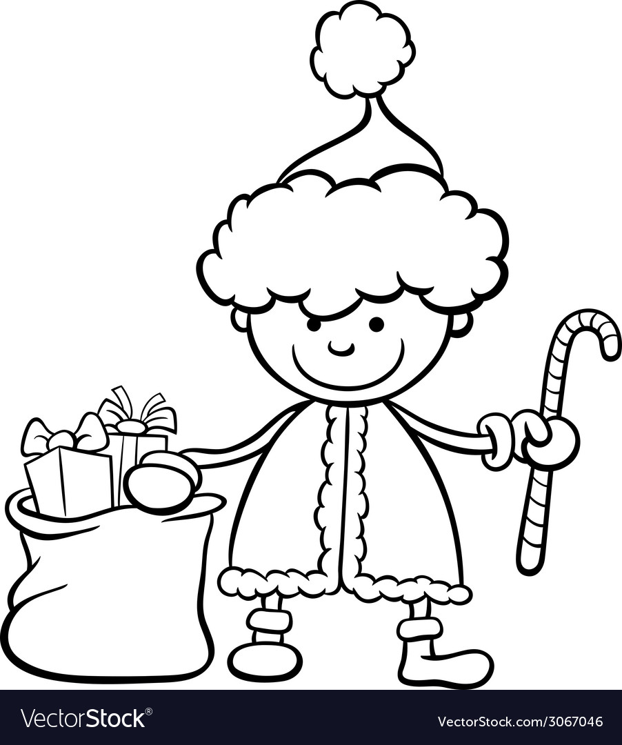 Santa claus kid cartoon coloring page vector | Price: 1 Credit (USD $1)