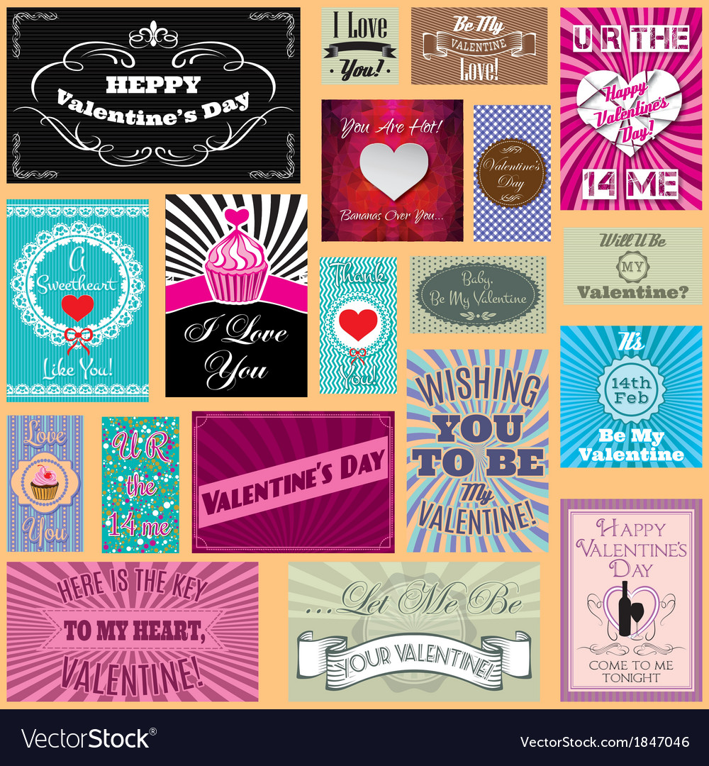 Set of happy valentines day cards vector | Price: 3 Credit (USD $3)