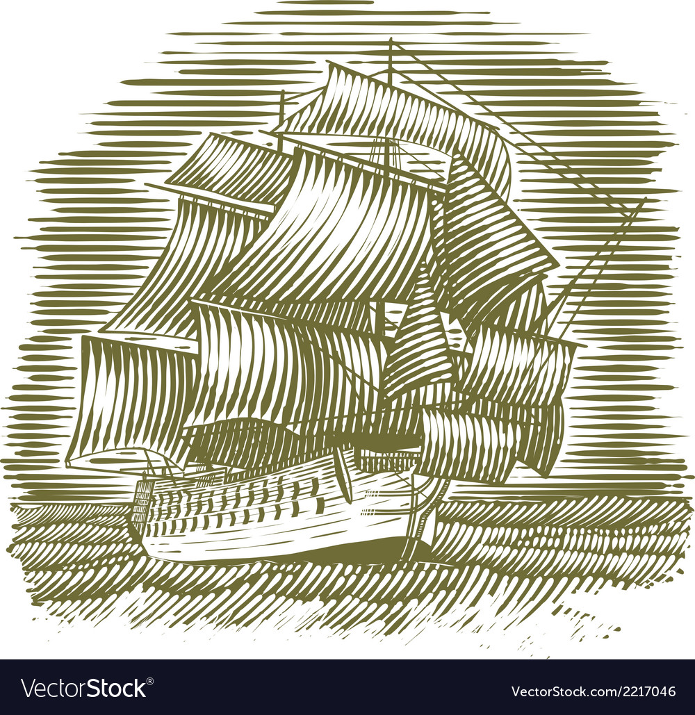 Woodcut ship vector | Price: 1 Credit (USD $1)
