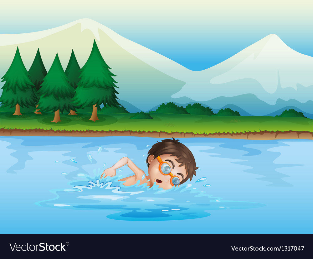 A boy swimming at the river vector | Price: 1 Credit (USD $1)