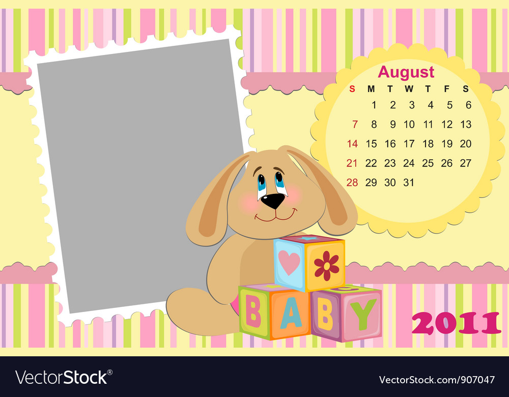 Babys monthly calendar for august 2011s vector | Price: 1 Credit (USD $1)
