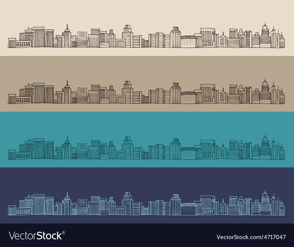 Big city architecture engraved vector | Price: 1 Credit (USD $1)