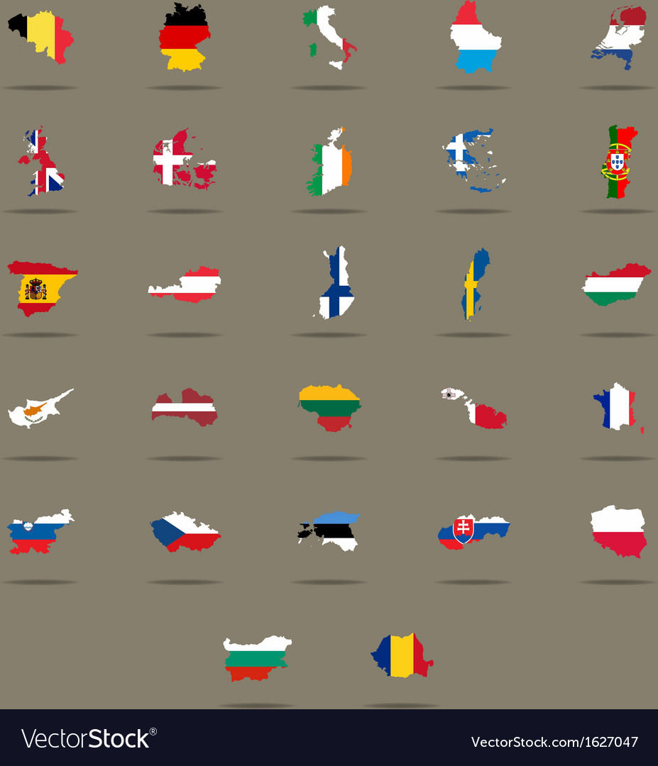 European union country flags set vector | Price: 1 Credit (USD $1)