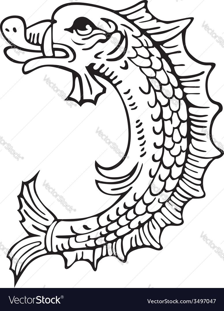 Heraldic dolphin no1 vector | Price: 1 Credit (USD $1)