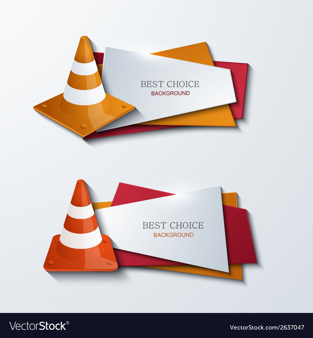 Modern traffic cones banners icons set vector | Price: 1 Credit (USD $1)