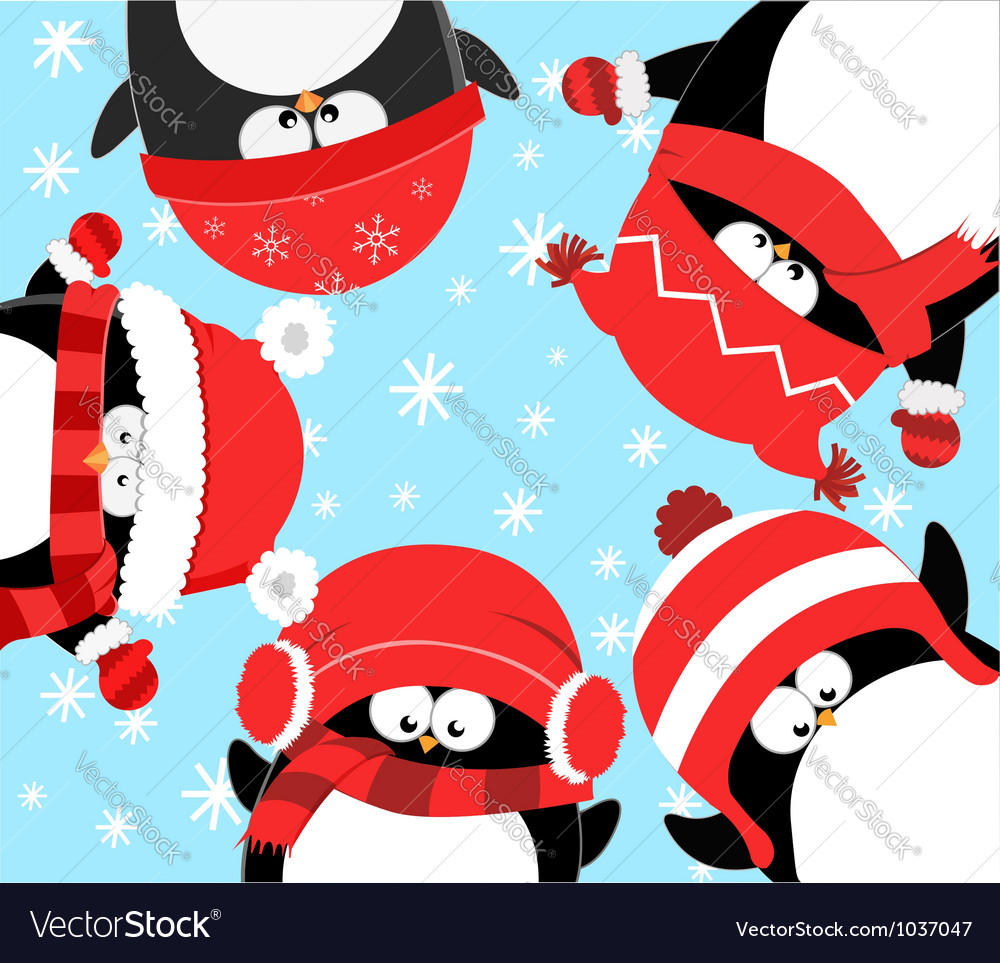Penguins celebrating christmas vector | Price: 3 Credit (USD $3)