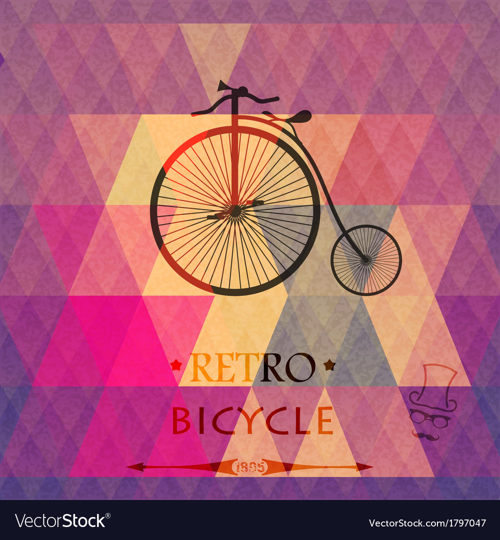 Retro bicycle on a grungy background of triangles vector   Price: 1 Credit (USD $1)