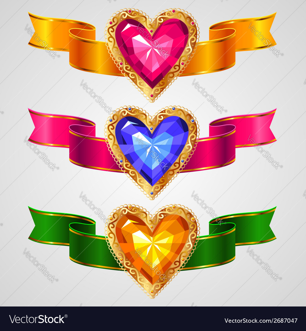 Ribbons heart vector | Price: 1 Credit (USD $1)
