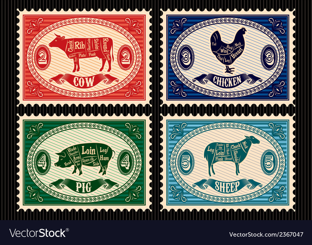 Set of postage stamps with pets vector | Price: 1 Credit (USD $1)