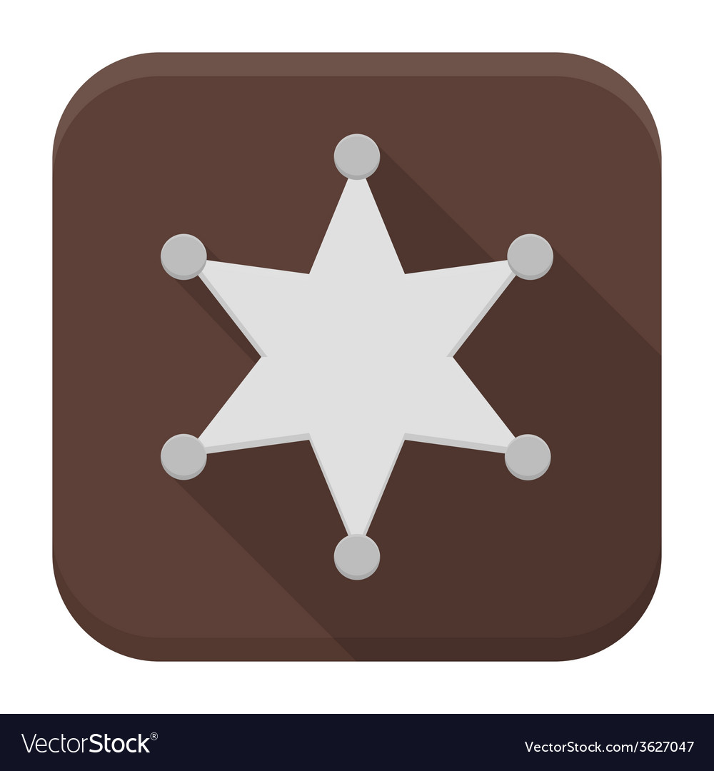 Sheriff star flat app icon with long shadow vector | Price: 1 Credit (USD $1)