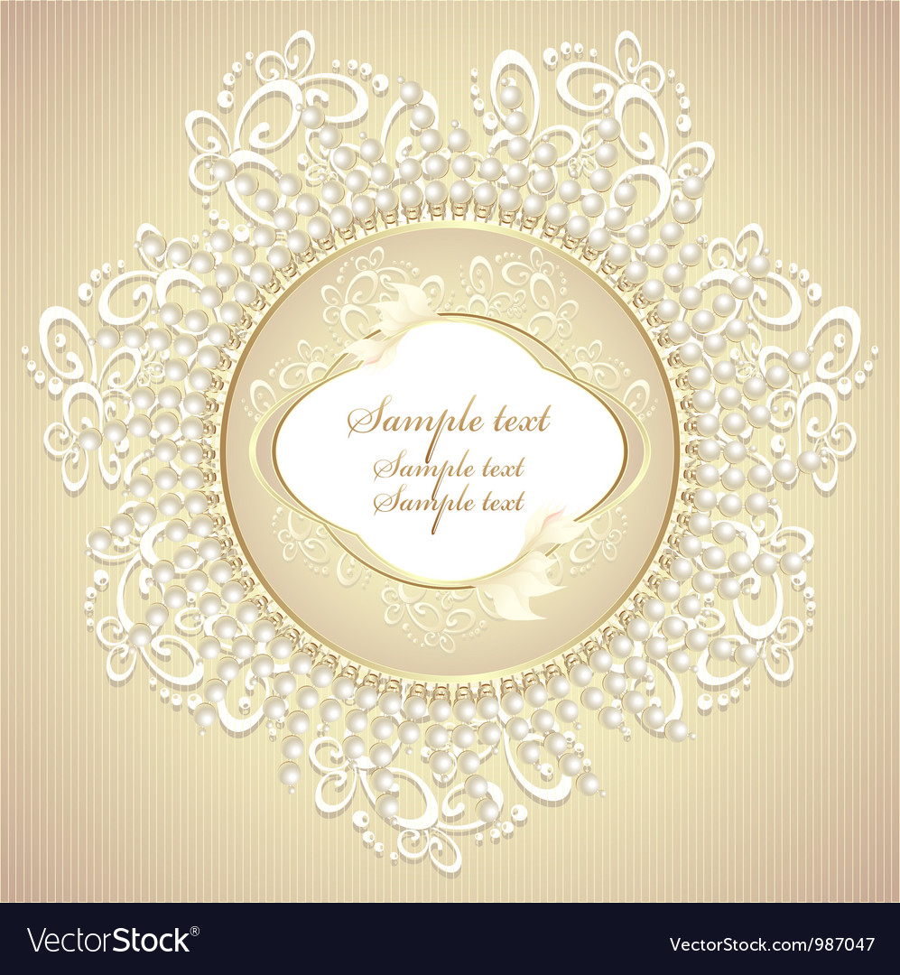 Wedding or sweet frame with pearls petals and lace vector | Price: 1 Credit (USD $1)