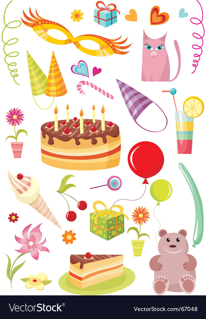 Birthday design elements vector | Price: 3 Credit (USD $3)