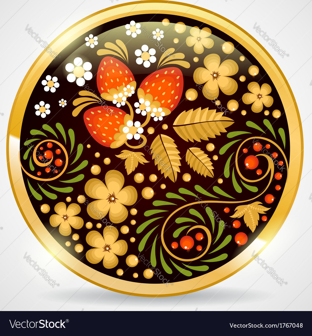 Decorative khokhloma golden pendant vector | Price: 1 Credit (USD $1)