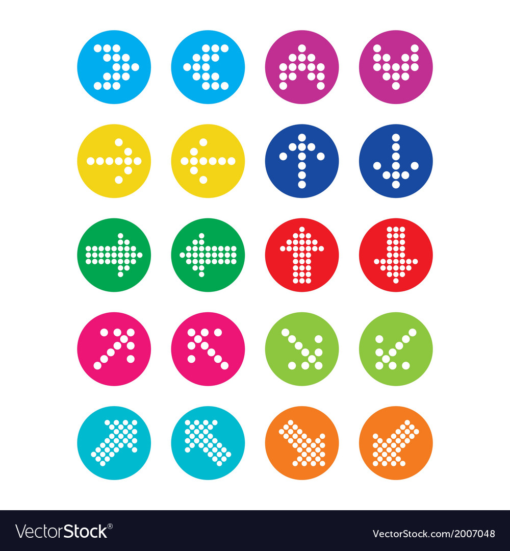Dotted colorful arrows round icons set isolated vector | Price: 1 Credit (USD $1)