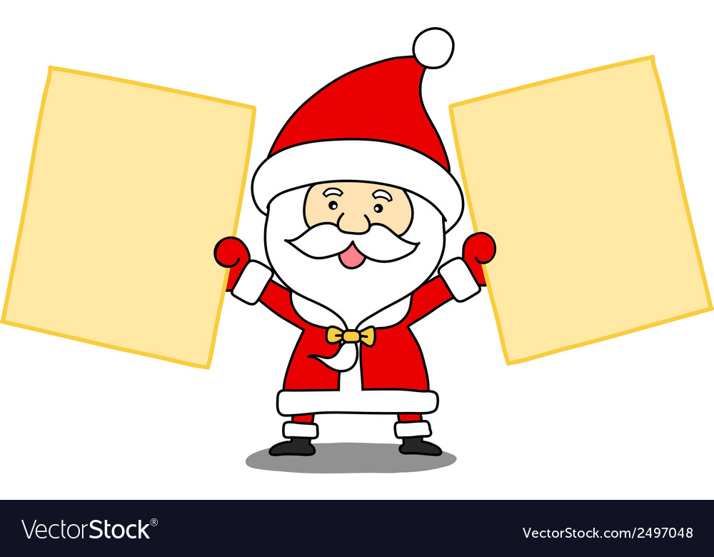 Funny santa claus with a sheet of paper vector | Price: 1 Credit (USD $1)