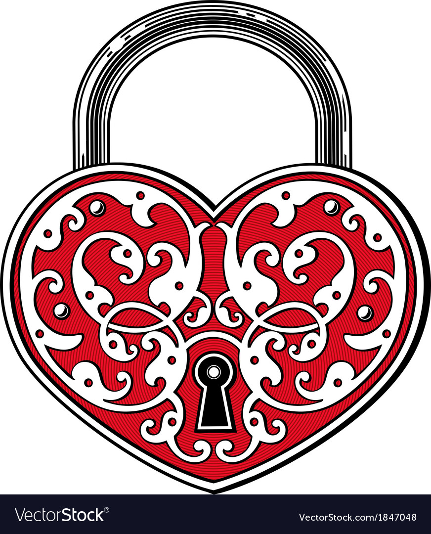 Heart shaped padlock in vintage engraved style vector | Price: 1 Credit (USD $1)