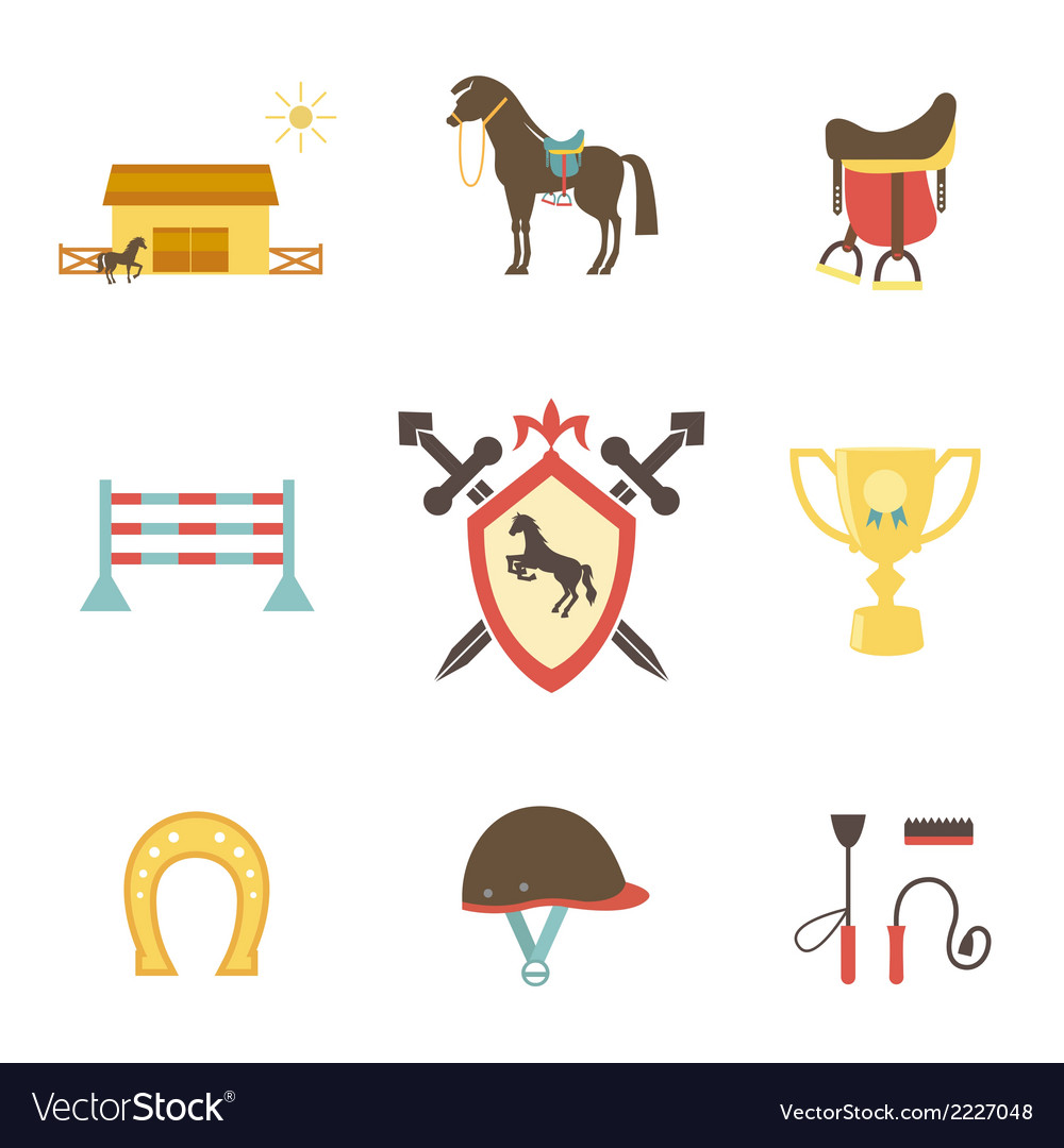 Horse and equestrian icons in flat style vector | Price: 1 Credit (USD $1)