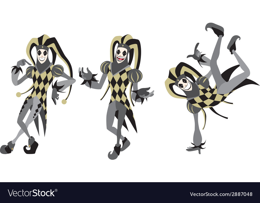 Joker many positions gold isolated vector | Price: 1 Credit (USD $1)