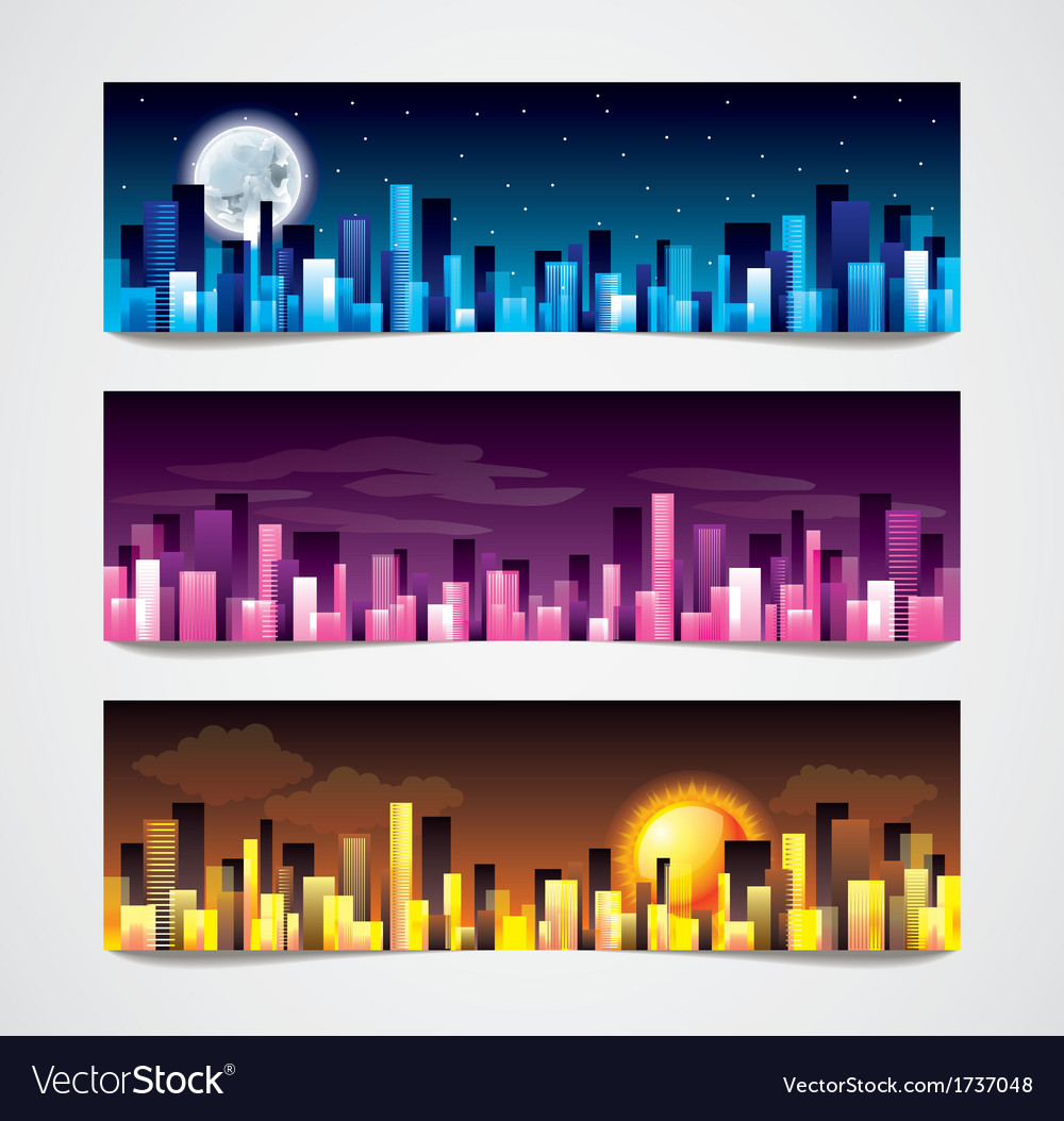 Night city banners vector | Price: 1 Credit (USD $1)
