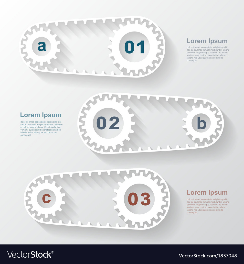Paper gears infographic 4 vector | Price: 1 Credit (USD $1)