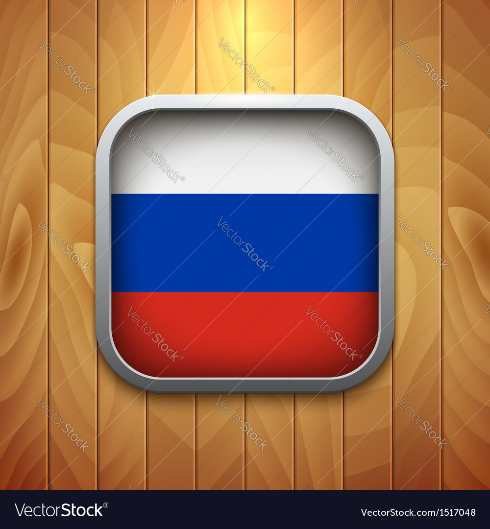 Rounded square russian flag icon on wood texture vector | Price: 1 Credit (USD $1)