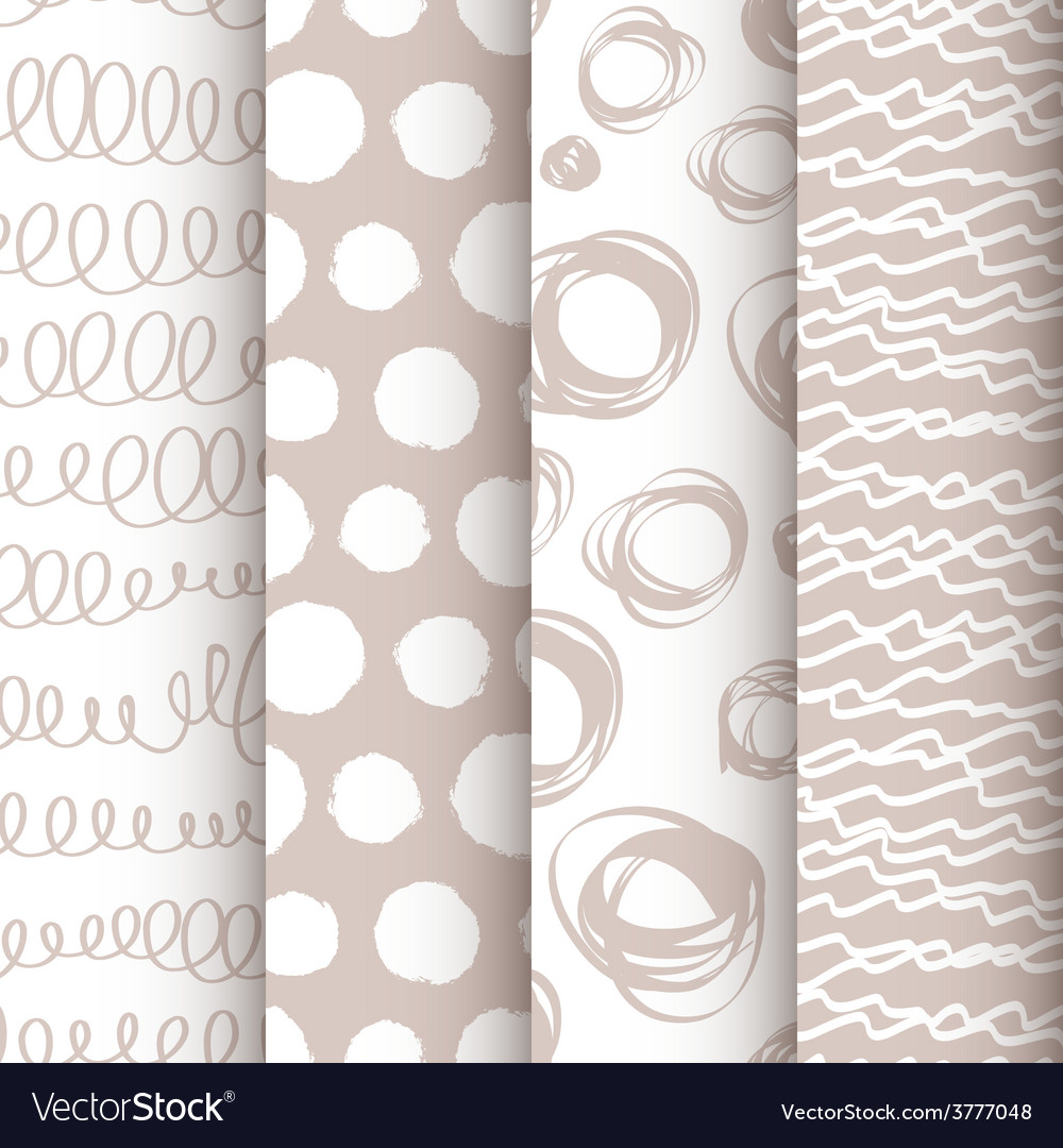 Set of 4 black and white doodle seamless patterns vector | Price: 1 Credit (USD $1)