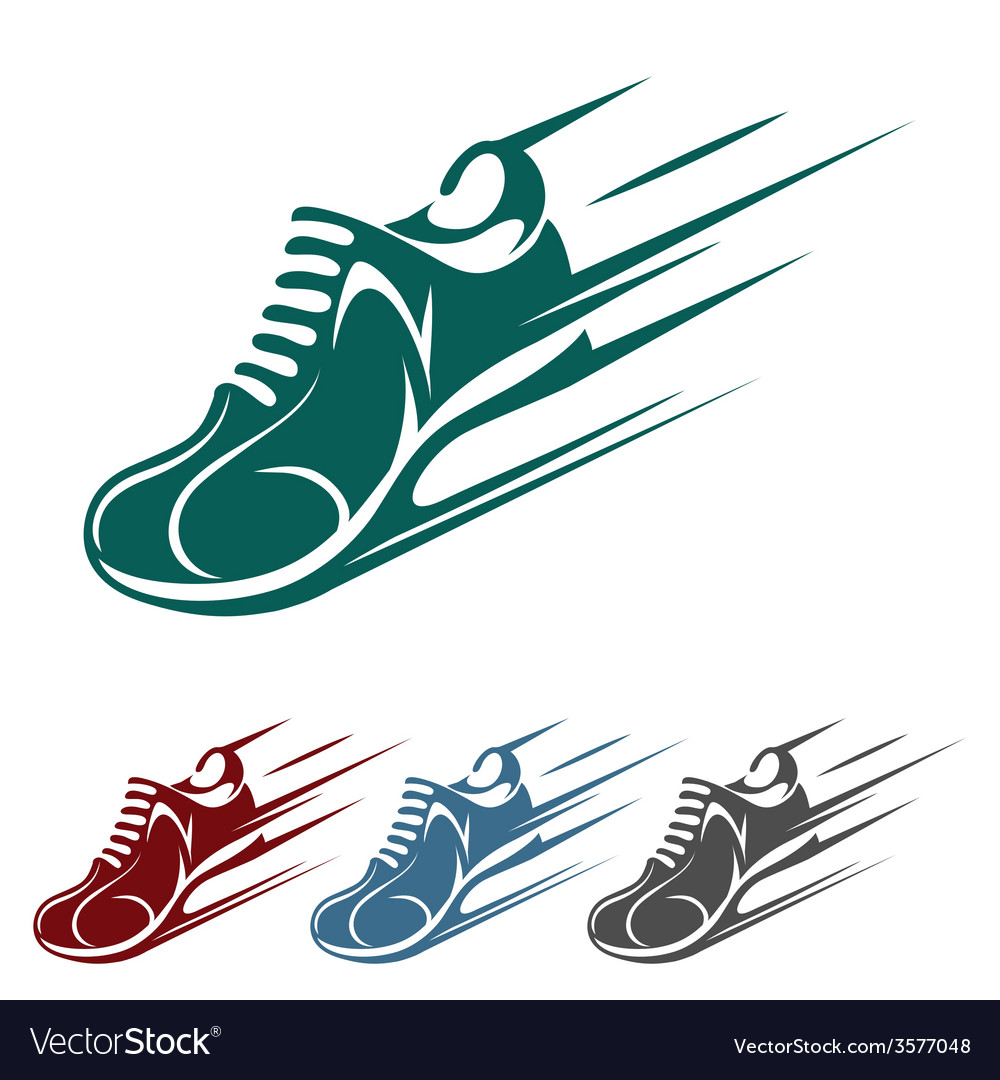 Speeding running shoe icons vector | Price: 1 Credit (USD $1)