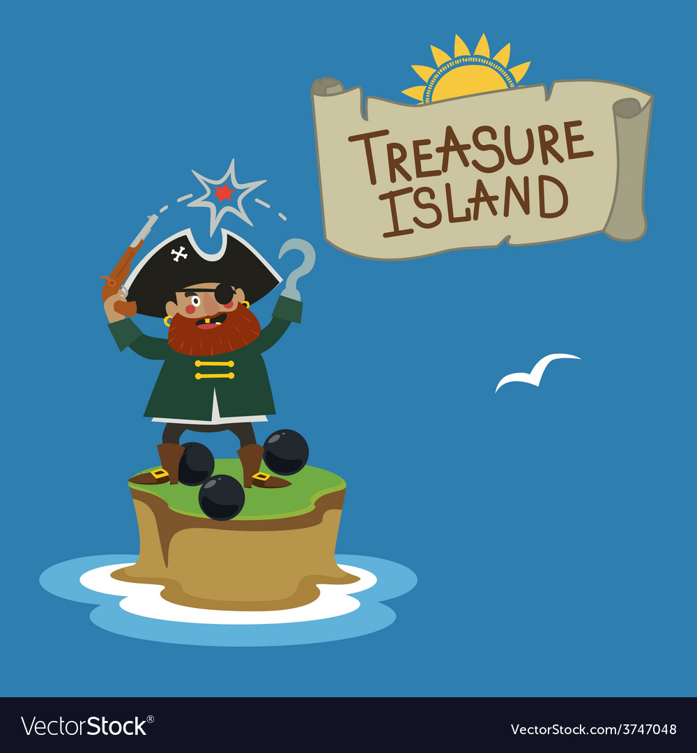 Treasure island with pirate vector | Price: 1 Credit (USD $1)