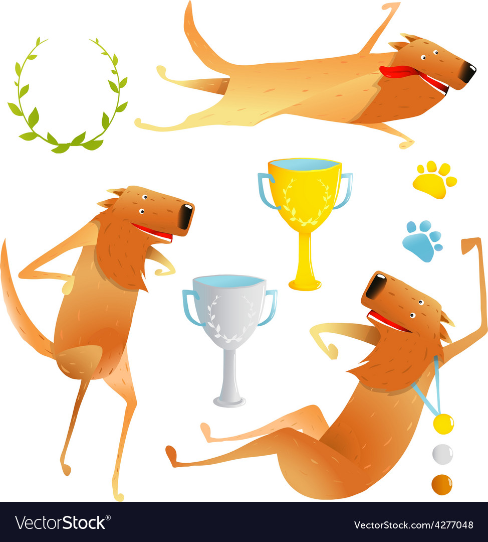 Winning red happy dog contest with cups and medals vector | Price: 1 Credit (USD $1)