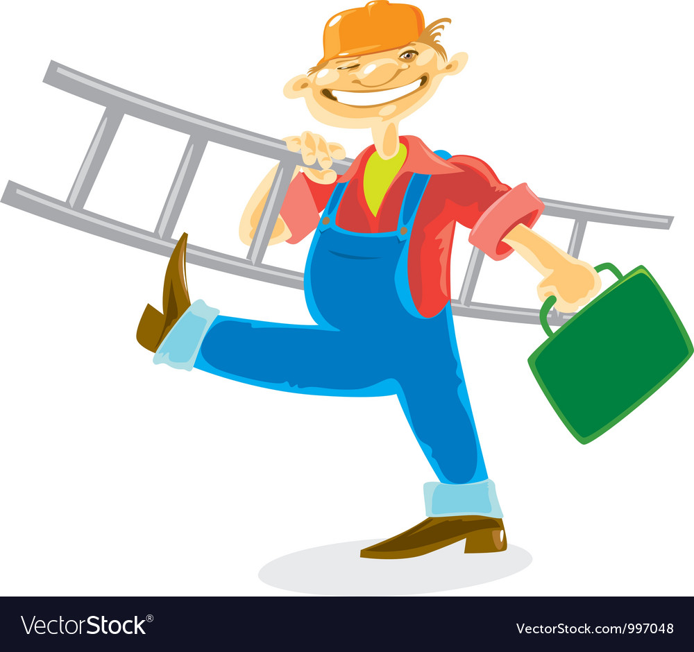 Worker with ladder vector | Price: 1 Credit (USD $1)