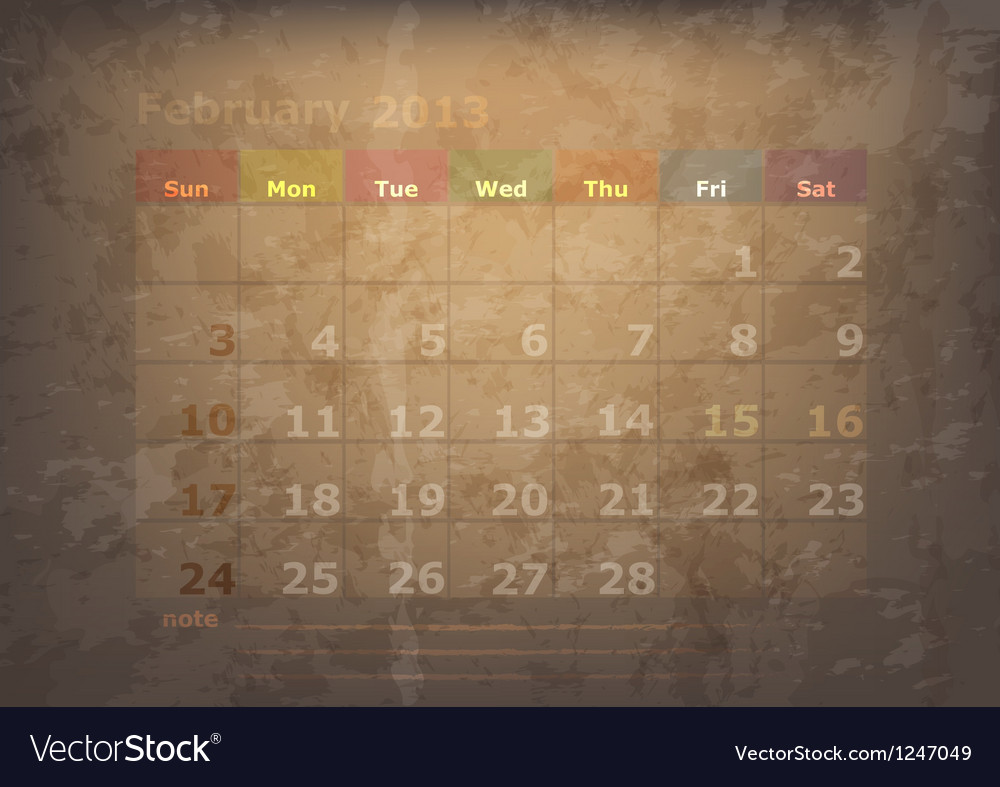 Antique calendar of february vector | Price: 1 Credit (USD $1)