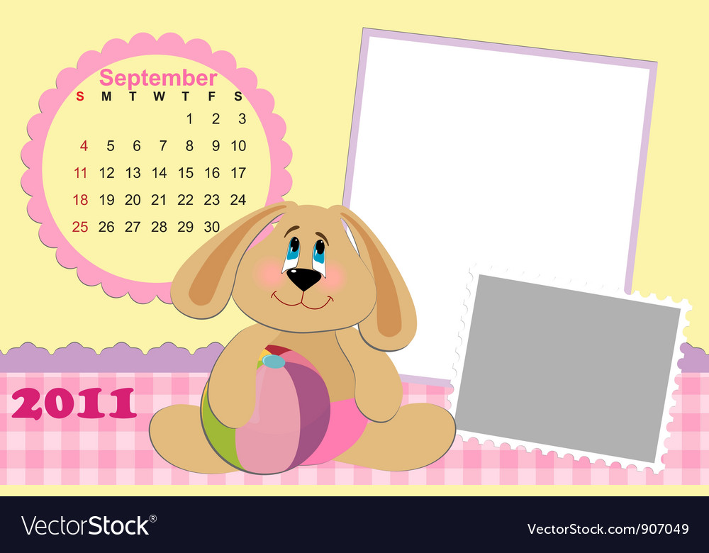 Babys monthly calendar for september 2011s vector | Price: 1 Credit (USD $1)