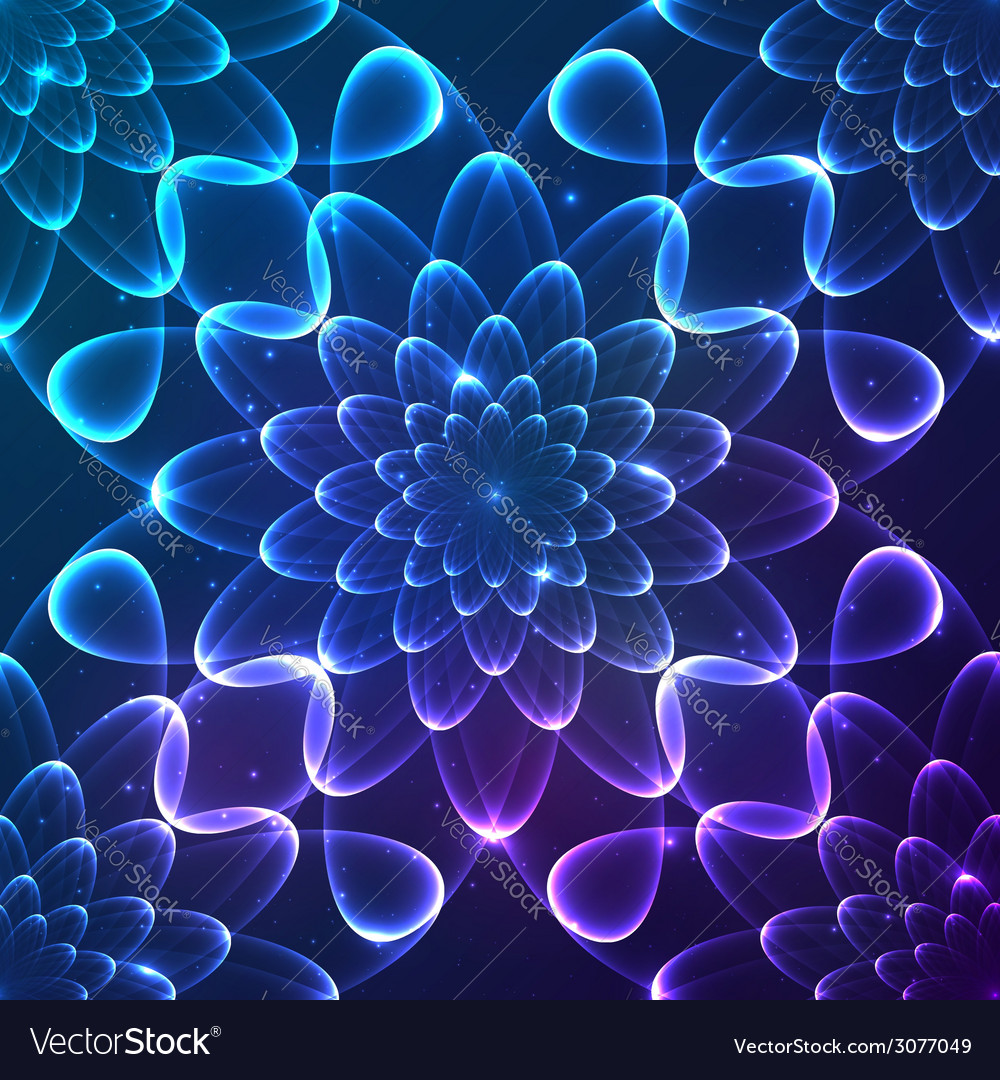 Blue shining cosmic flower seamless pattern tile vector | Price: 1 Credit (USD $1)